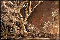 Szene, Brauntöne, Acrylmalerei, Vollmond