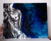 Körper, Schwarz weiß, Acrylmalerei, Kohlezeichnung