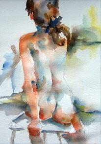 Mädchen, Mit schleife, Sitzen, Aquarellmalerei