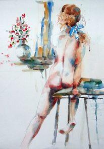 Blumen im fenster, Blaue schleife, Akt, Hocker