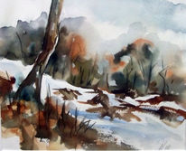 Baum, Stein, Wälder am bachufer, Aquarell