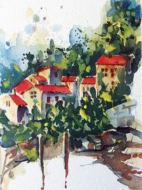 Dorf, Häuser, Hang, Aquarell