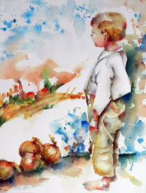 Aquarell, Figural, Junge, Zwiebeln