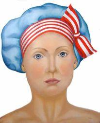 Kopf, Portrait, Blaue augen, Schleife