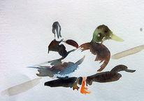 Negativmalerei, Ente, Schatten, Aquarell