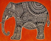 Indien, Orange, Elefant, Malerei
