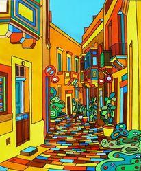 Englisch, Auberge, Malta, Malerei