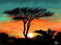 Malerei, Afrika, Sonnenuntergang
