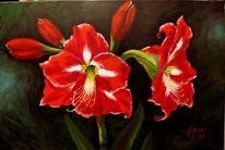 Flora, Blumen, Ölmalerei, Rot