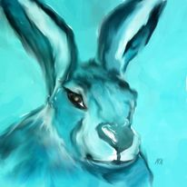 Digital, Hase, Blau, Digitale kunst