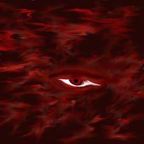 Digital, Abstrakt, Rot, Augen