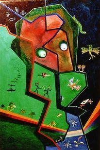 Malerei, Frosch, Wiese