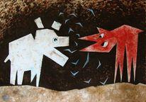 Malerei, Fuchs, Wolf