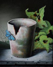 Stillleben, Blumen, Blätter, Ölmalerei