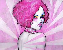 Frau, Pink, Malerei, Menschen