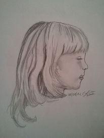 Menschen, Kind, Kleines maedchen, Bleistiftzeichnung