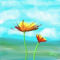 Blumen, Digital, Malerei, Pflanzen