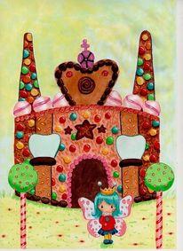 Haus, Schmetterling, Süßigkeit, Comic