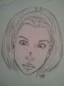 Kopf, Mädchen, Skizze, Zeichnung