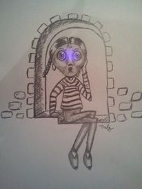 Kopf, Leuchten, Skizze, Bleistiftzeichnung