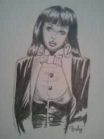 Bleistiftzeichnung, Frau, Comic, Zeichnung