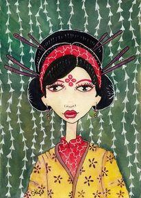 Aquarell, Geisha