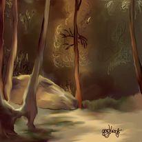 Zauberwald, Landschaft, Lichtung, Malerei