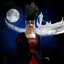 Nacht, Mond, Maskenball, Frau