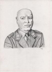 Portrait, Leutnant, Zeichnung, Oberst