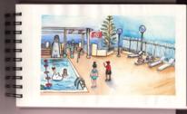 Aquarellmalerei, Poolszene, Urlaub, Tunesien