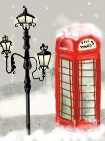 Winter, Landschaft, Telefon, Malerei