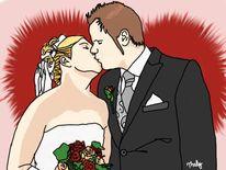 Hochzeit, Brautstrauß, Malerei
