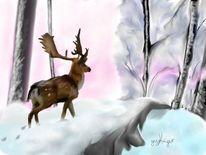 Zauberwald1, Winter, Schnee, Malerei