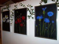 Grün, Kornblumen, Blumen, Frühling
