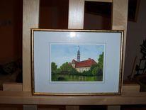 Baum, Haus, Aquarellmalerei, Sommer