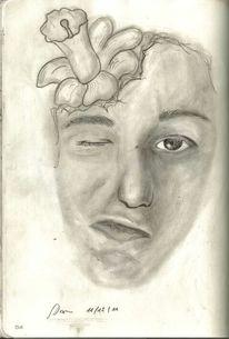 Blumen, Gesicht, Kopf, Skizze