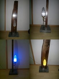 Lampe, Granit, Nussholz, Led