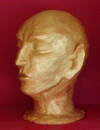 Gold, Keramik, Kopf, Malerei