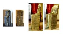 Gold, Stuhl, Keramik, Abstrakt
