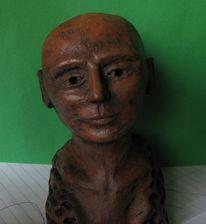 Kopf, Braun, Keramik, Abstrakt