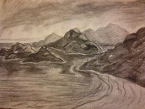 Kohlezeichnung, Felsen, Zeichnung, Strand