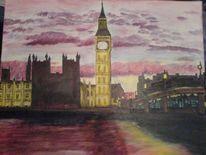 Malerei, Acrylmalerei, Dämmerung, London