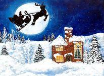 Neujahr, Weihnachten, Acrylmalerei, Malerei