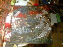 Acrylmalerei, Landschaft, Berge, Feuer