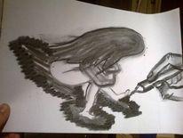 Zeichnung, Frau, Kohlezeichnung, Hand