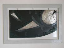 Metall, Modern, Abstrakt, Mischtechnik