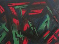 Grün, Rot schwarz, Hexe, Malerei