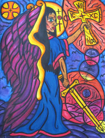 Rot, Christentum, Schwert, Aquarellmalerei