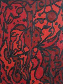 Schmerz, Ölmalerei, Rot schwarz, Malerei