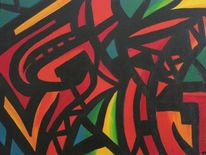 Acrylmalerei, Rot, Abstrakt, Grün